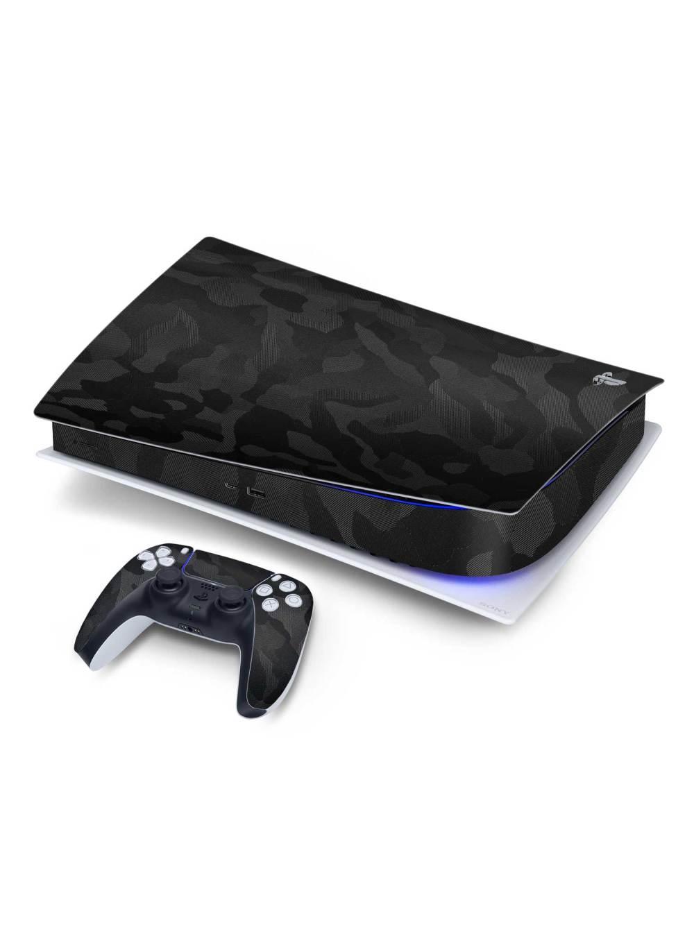 Textured 3M Black CAMO Sony PS5 Digital Edition Vinyl Skin Wrap