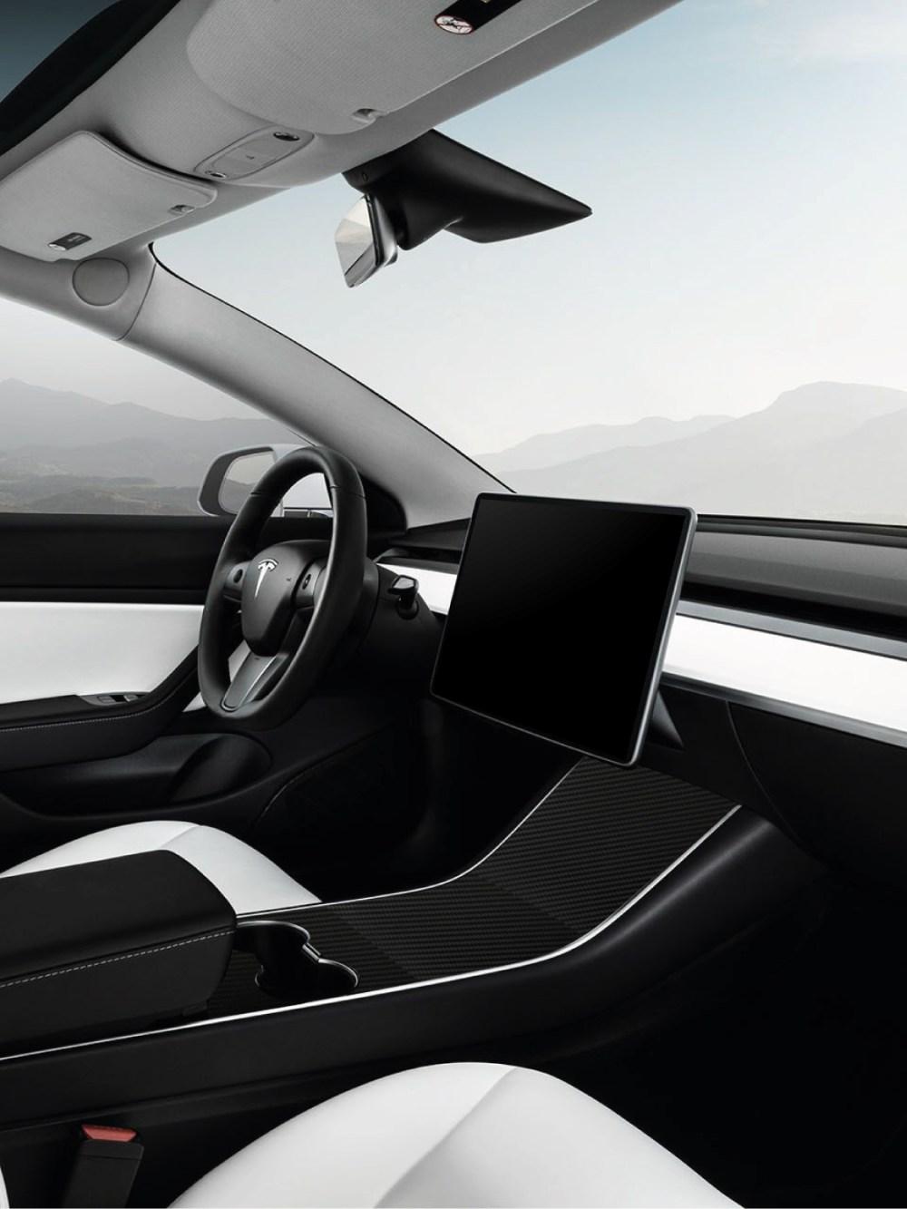 Black Carbon Fibre skin wrap for Tesla Model 3