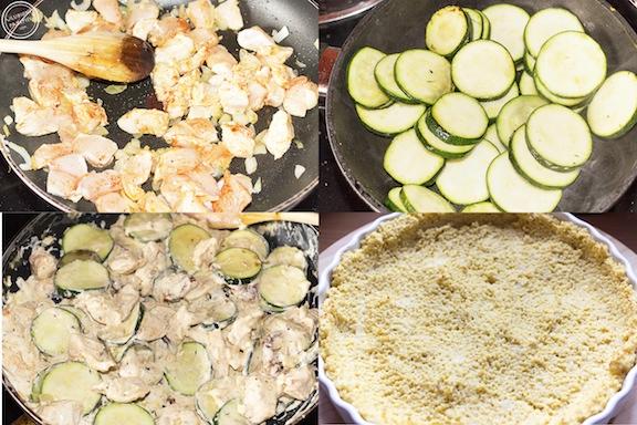 Tarta na spodzie z kaszy jaglanej z kurczakiem, cukinią i mascarpone