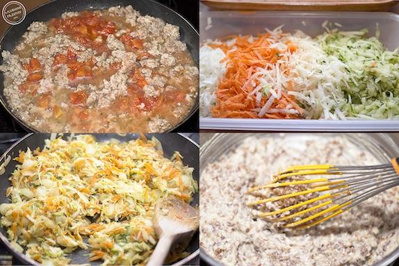 Zapiekanka z kaszą gryczaną, mięsem mielonym i warzywami