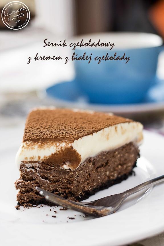 Sernik czekoladowy z kremem z białej czekolady