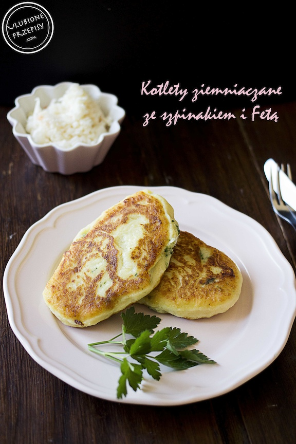 Kotlety ziemniaczane ze szpinakiem i serem Feta