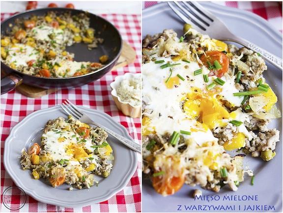 Mięso mielone z warzywami i jajkami sadzonymi
