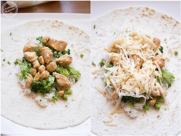 Burrito z ryżem, kurczakiem i brokułami