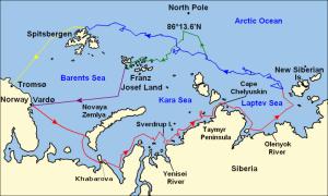 Ruta seguida por Nansen en su intento de conquistar el Polo Norte. Fte.Wikipedia