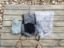 My Pack, Pack Liner, and partially-filled Food Bag