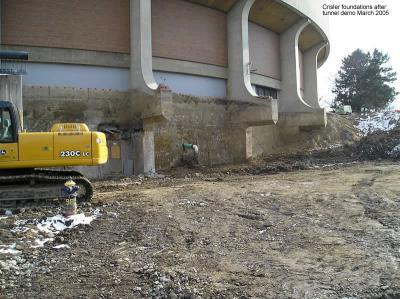 Crisler foundations after tunnel demo