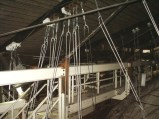 New catwalk in attic and wires supporting ceiling of stage