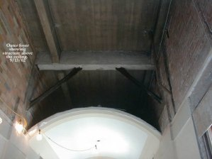 Outer foyer showing structure above ceiling