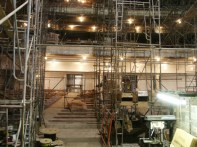 View from stage through scaffolding