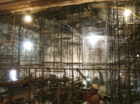 View from center of first floor through scaffolding