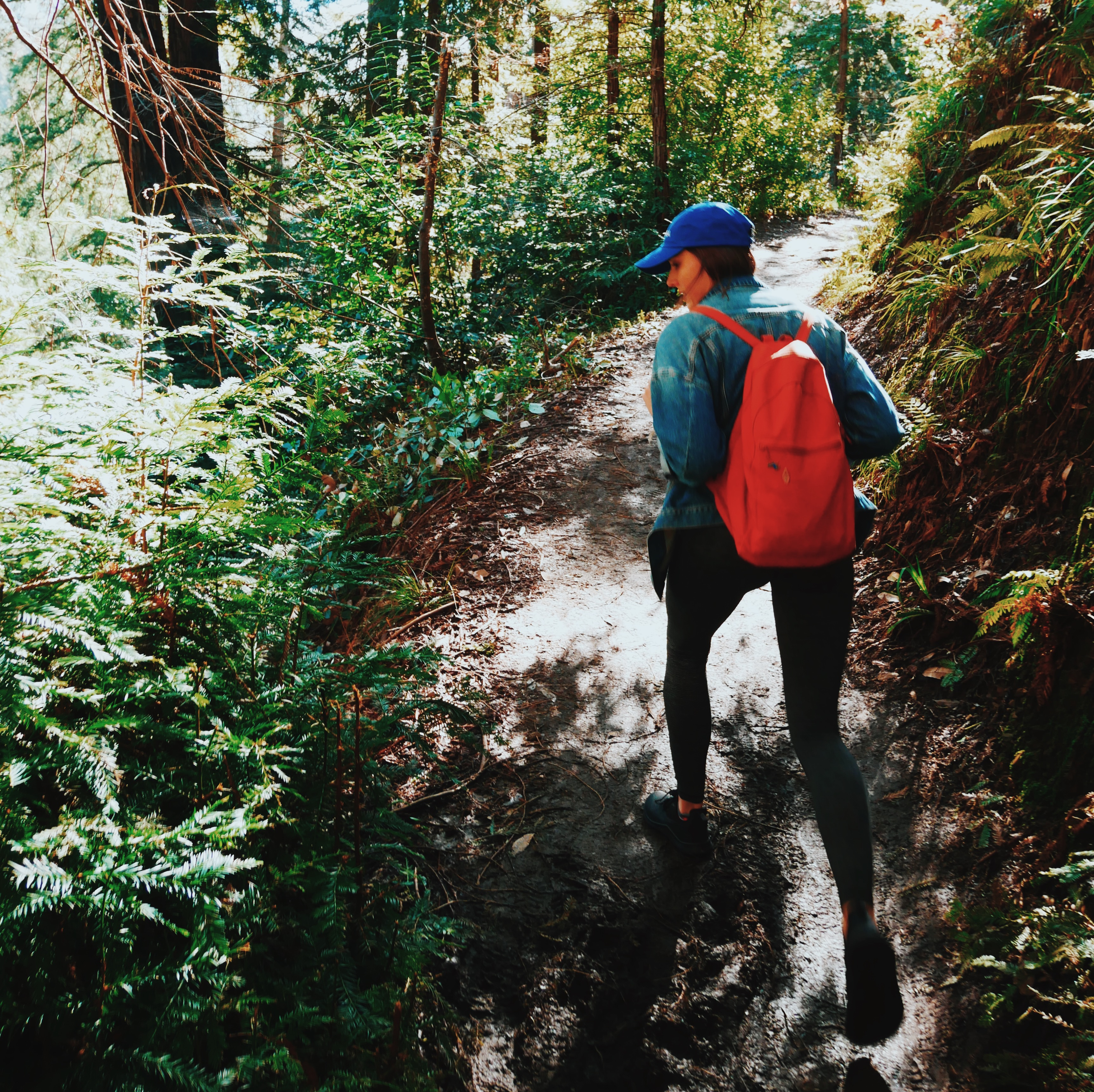 Cofounder hiking in the woods wearing jacket, red backpack, and blue hat