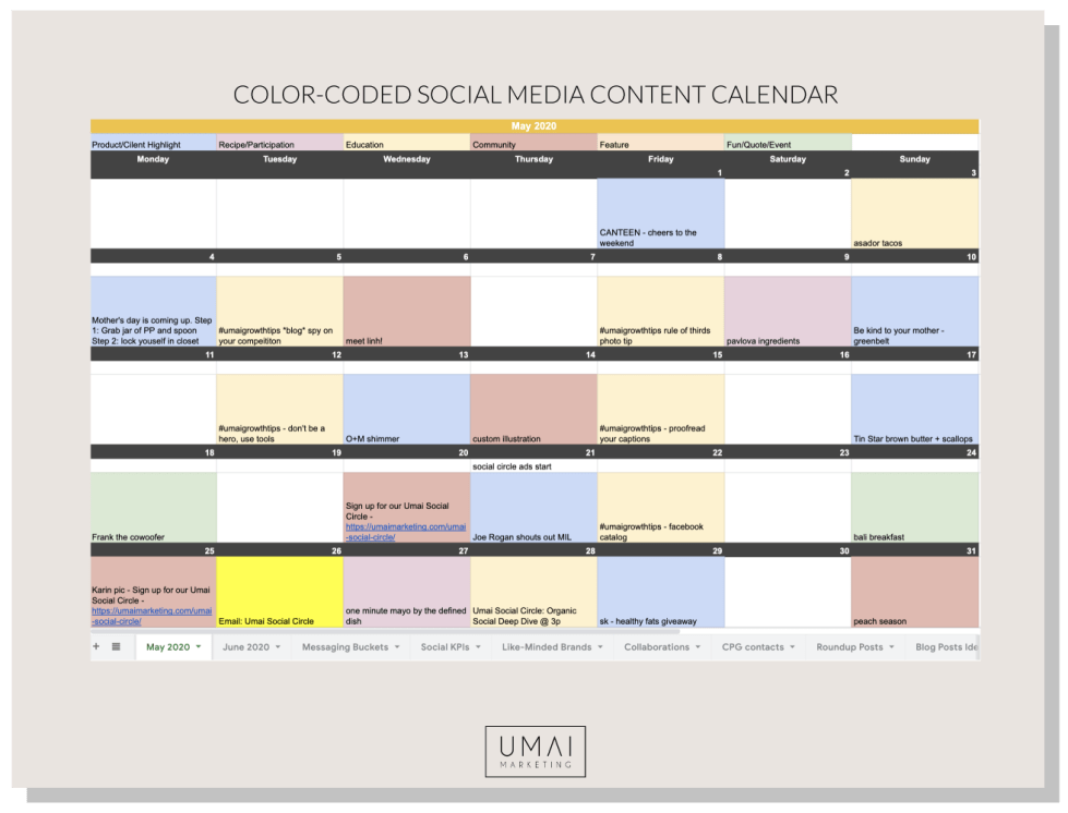 Example of social media content calendar to Use Instagram to grow you business