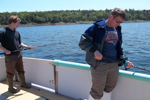 Mike Kersula and participating fishermen jigging on the sentinel survey