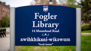 Fogler Library sign