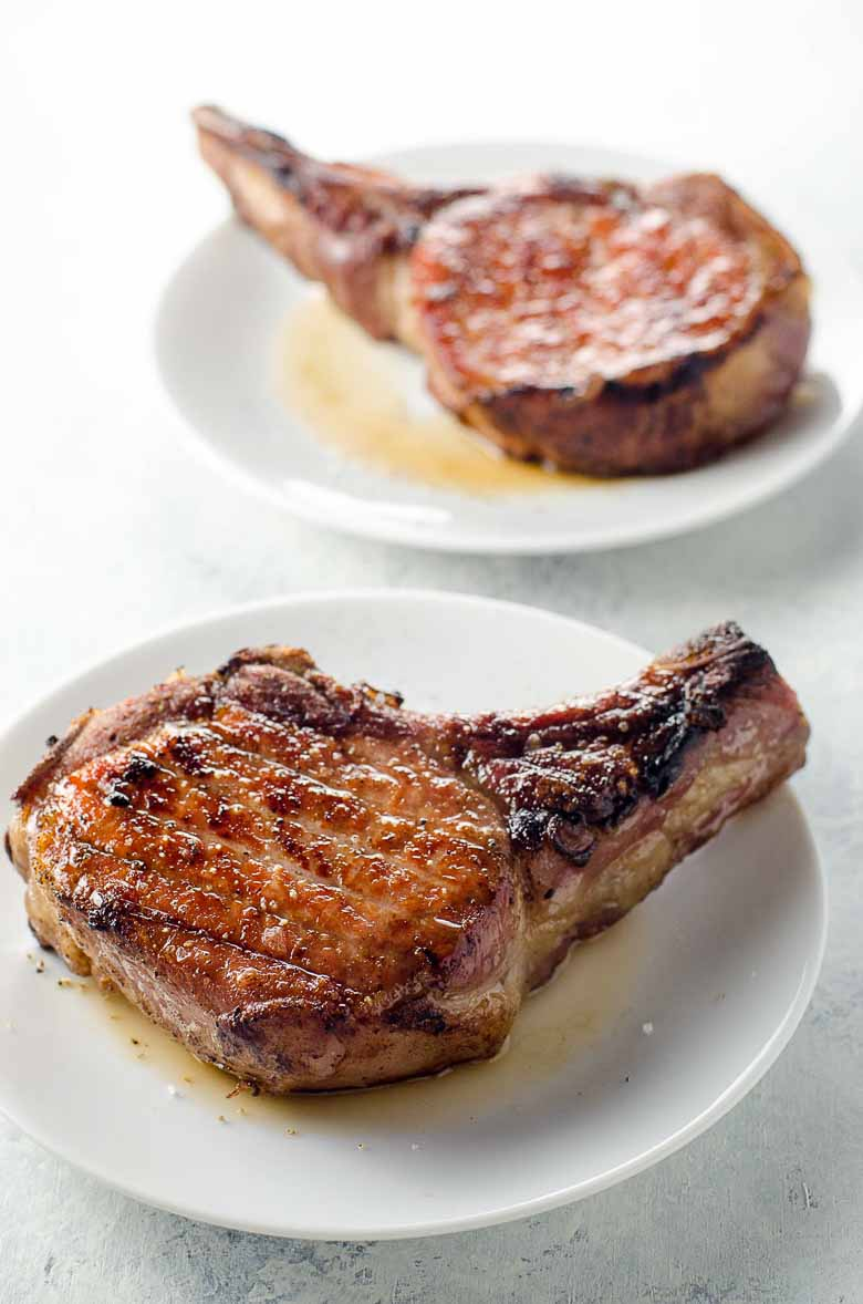 hight resolution of reverse sear pork chops with quick shallot herb pan sauce