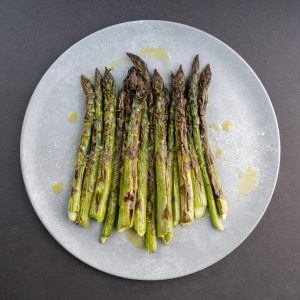 Grilled Asparagus with olive oil and umami salt. Best grilled veggies ever.