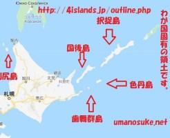 北海道、利尻島、国後島、択捉島、歯舞群島、色丹島