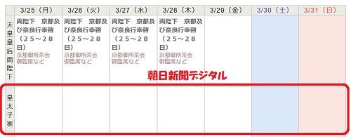 朝日新聞デジタル東宮一家の予定表は白紙