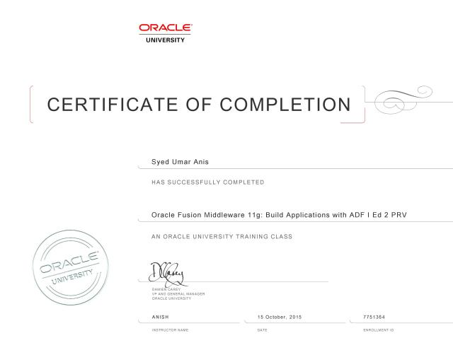 Oracle Fusion Midleware 11g - Build Applications with ADF - Certificate
