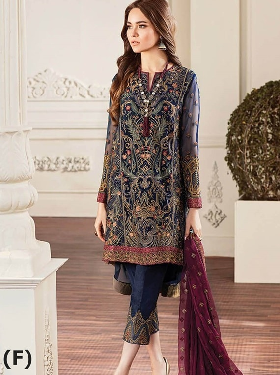 Chantell Embroidered Chiffon Collection 01-ROUGE