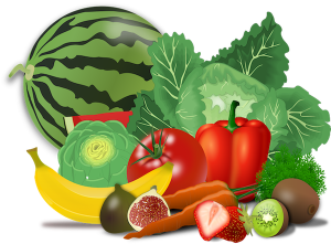 Picture of fruits and vegetables.