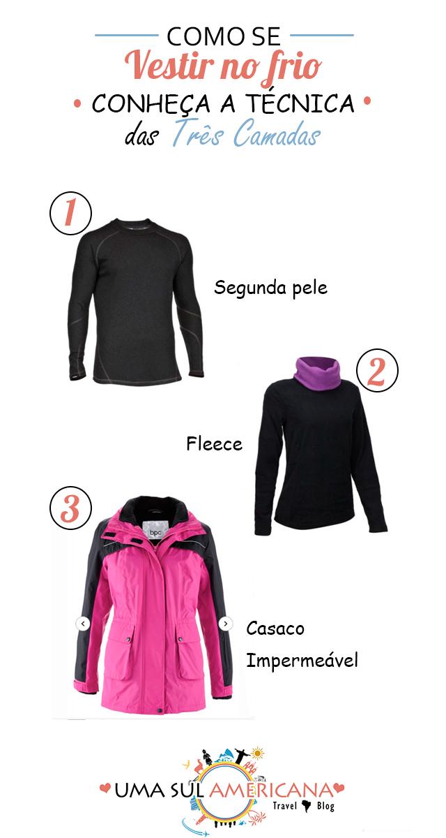 Como se vestir em lugares frios - Técnica das 3 camadas