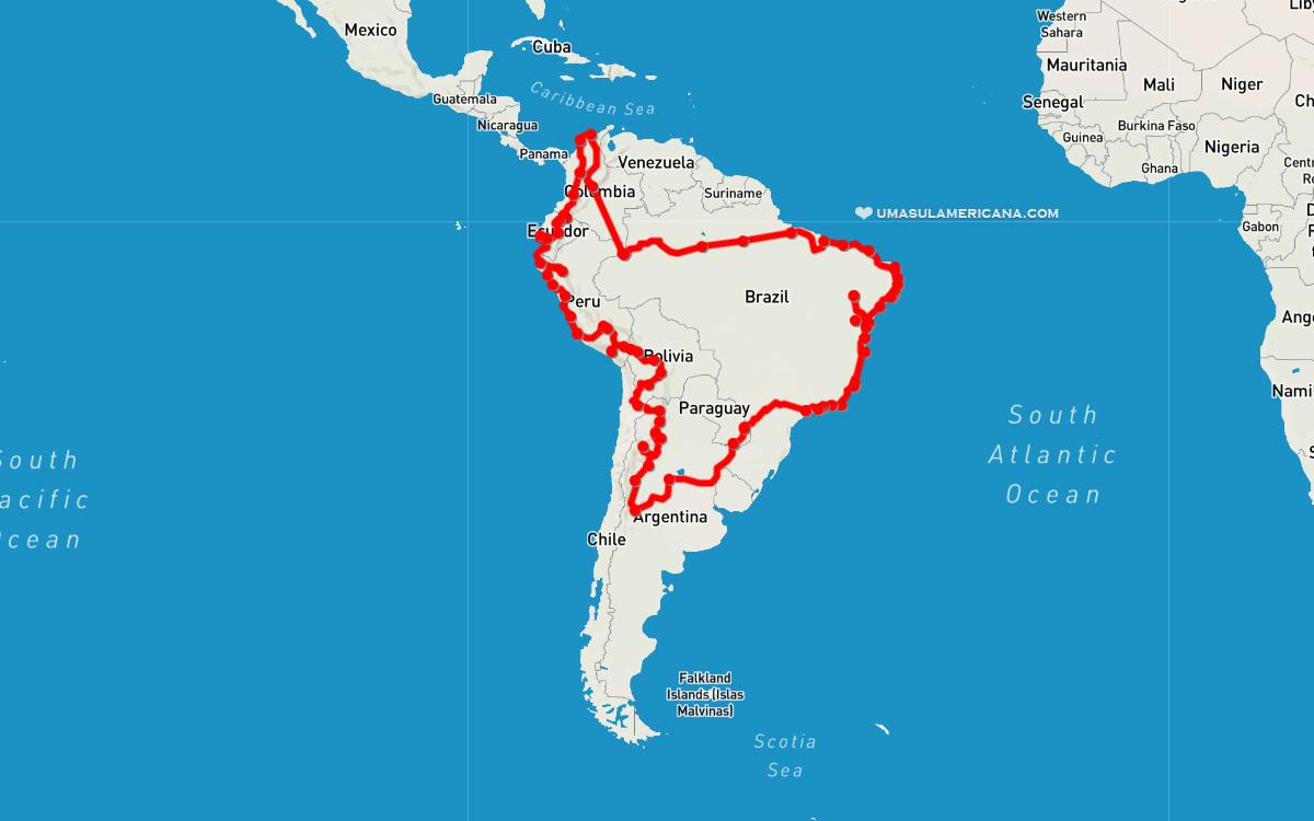 Viagem sabática pela América do Sul - roteiro do mochilão