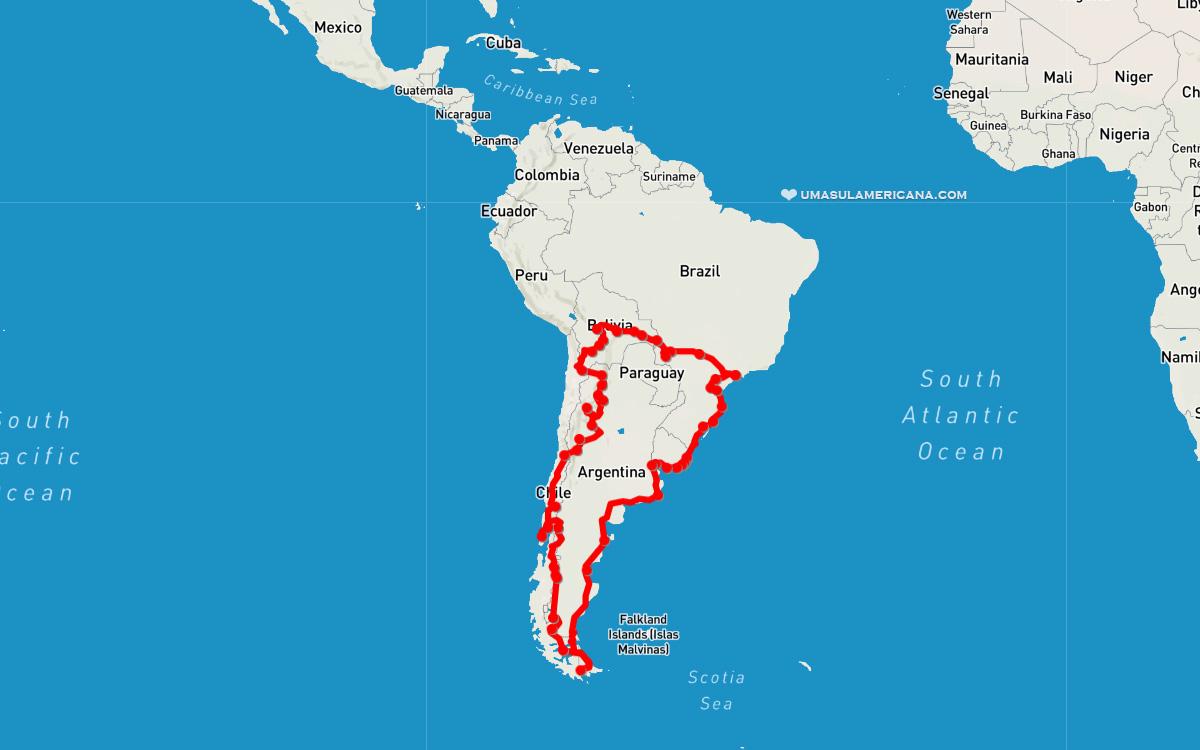 Volta à América do Sul - mapa de roteiro de mochilão