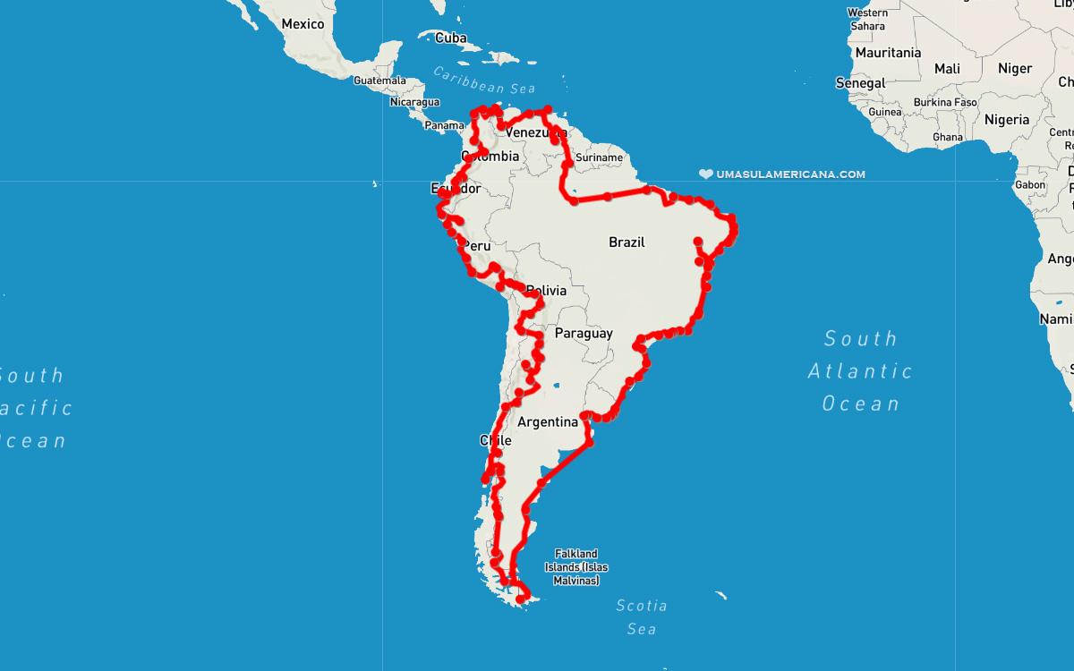 Mapa do mochilão pela América do Sul - volta completa pelo continente