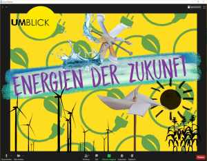Energien der Zukunft, Umblick Logo, Wasserrad, Windräder, Sonne Pflanzen