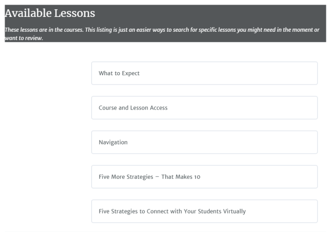 Available Lessons Section