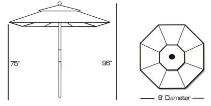 Galtech 132-232 light wood 9 foot round umbrella specs
