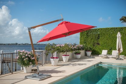 10' Round Sirocco Side Wind Offset Market Umbrella