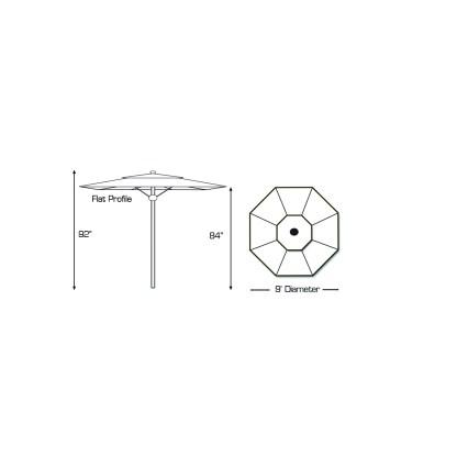 Specs for Galtech 732 9′ Round Deluxe Commercial Market Umbrella