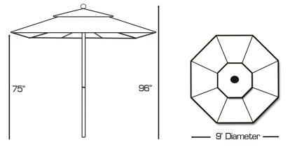 Specs for Galtech 735 9′ Round Commercial Market Umbrella