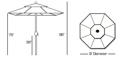 Specs for Galtech 737 9′ Round Deluxe Auto Tilt Umbrella