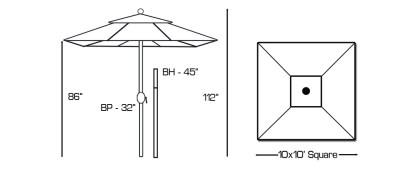 Galtech 799 10'x10' square umbrella Specs