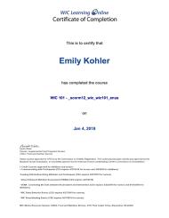 WIC 101 Certification