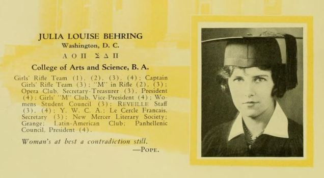 """Julia Louise Behring, Maryland Class of 1927 and the artist responsible for """"Why the Boys Come to Maryland."""""""