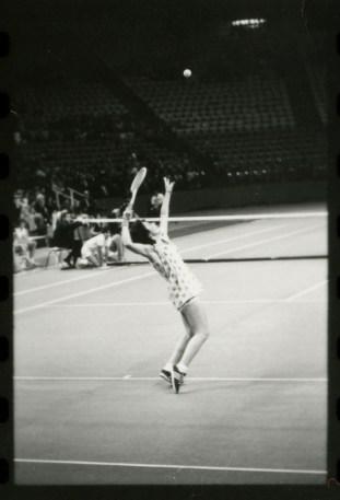 Billie Jean King serving