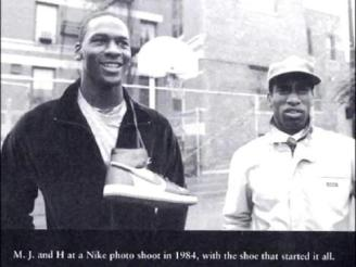 Jordan and White pose with the shoe that started it all. photo credit: http://thegrio.com/