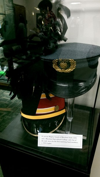Current Mighty Sound of Maryland shako and Maryland Agricultural College cadet hat from 1914