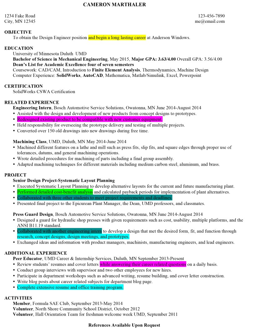 resume of strengths