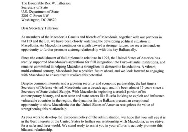 UMD Applauds 32 Members of Congress for Urging Secretary Tillerson to Visit Macedonia