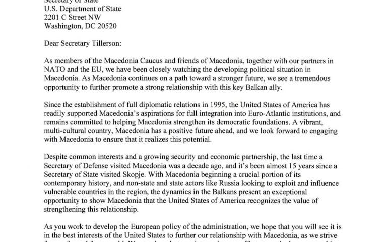UMD Applauds 32 Members of Congress for Urging Secretary Tillerson to Visit Macedonia