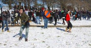 Some 3,000 students joined the Facebook page and hundreds turned out for the battle. (Jack Angelo/Bloc Photographer)