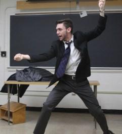 Sophomore economic major Sam Brinker lunges toward his foe on Improv Night. (Jack Angelo/Bloc Photographer)