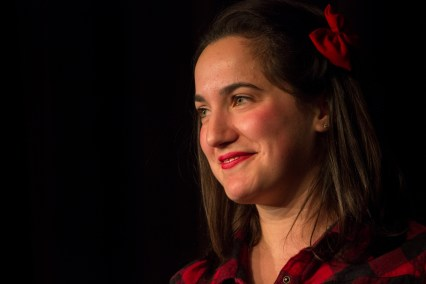 """Zoe Wasserman performs """"Because He Liked to Look at It,"""" a skit in which a woman has a good time with a man. (Ryan Eskalis/Bloc Reporter)"""