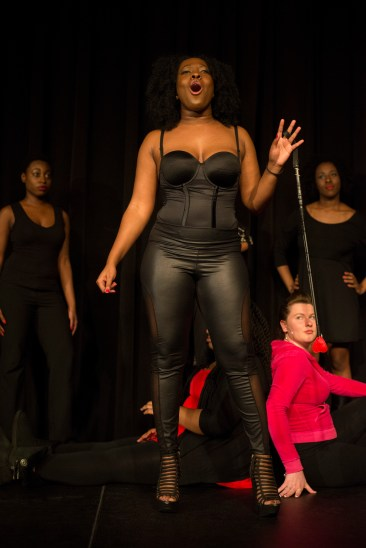 Green performs as a dominatrix at the Vagina Monologues at UMD this year. (Ryan Eskalis/Bloc Reporter)